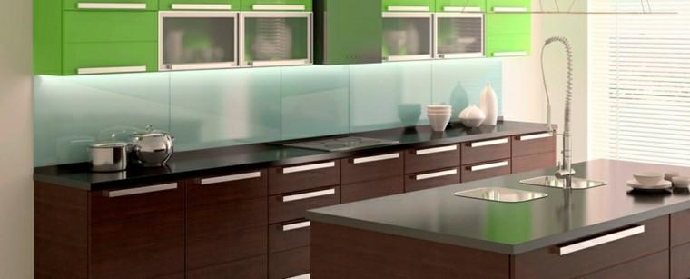 cocina muebles madera armarios verdes ideas cocina suelo madera encimera granito ideas