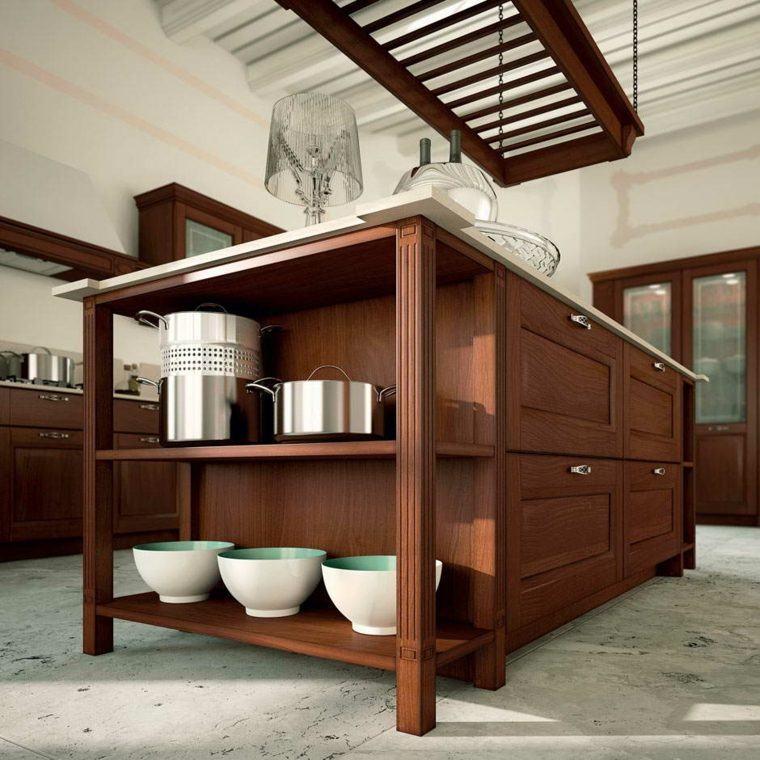cocina muebles madera isla estantes preciosa ideas