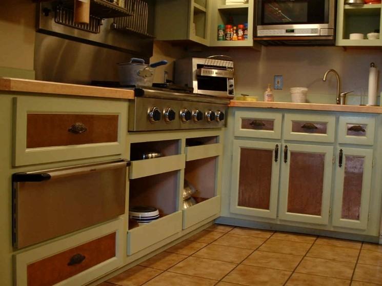 cocina muebles pintados verde