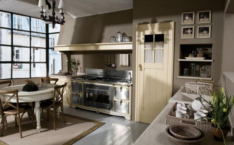 cocina natural campo estilo enlace marron