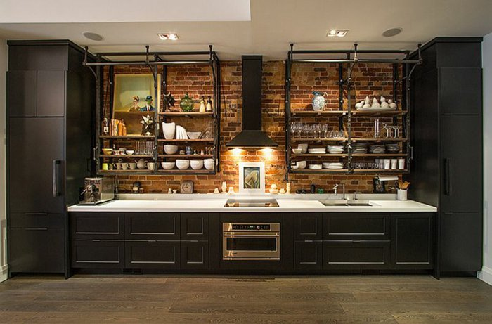 cocina negra estilo industrial muebles
