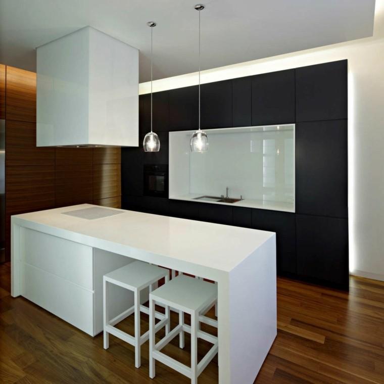 diseño cocina negra isla blanca