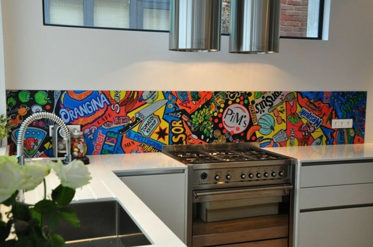 cocina pared decorada preciosa colores ideas