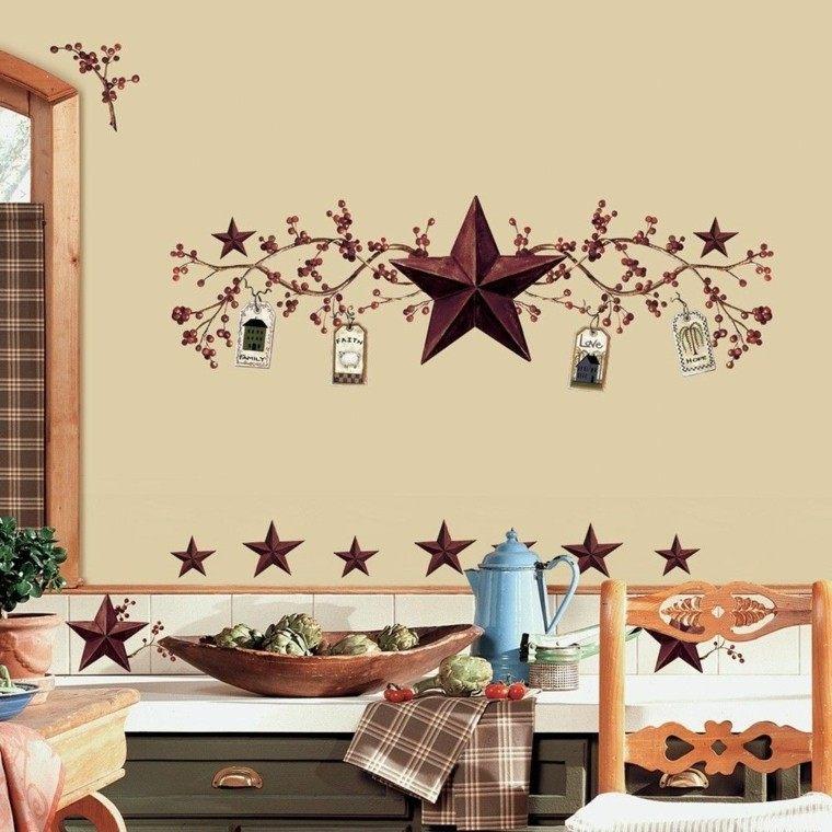 cocina pared dibujo estrellas silla madera ideas