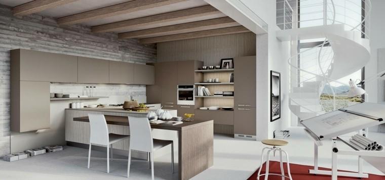 cocina pared madera muebles color beige ideas