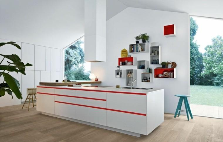 cocina paredes muebles blancos ventanales luminosa ideas