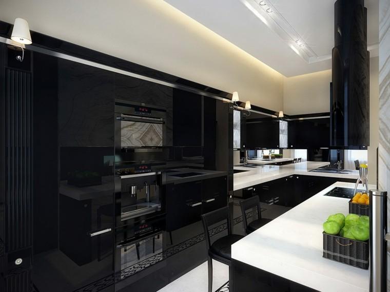 cocina pequeña color negro lacado