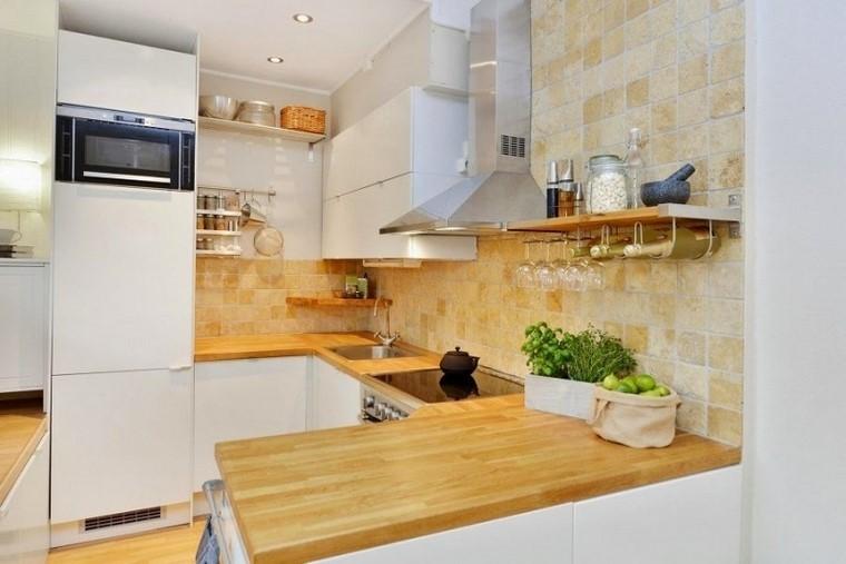 cocina pequena encimeras madera ideas moderna