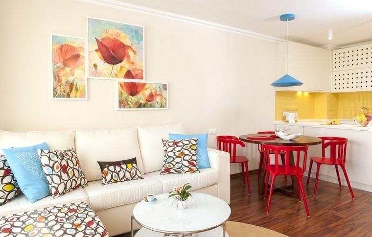cocina pequena pared amarilla sillas rojas comedor ideas