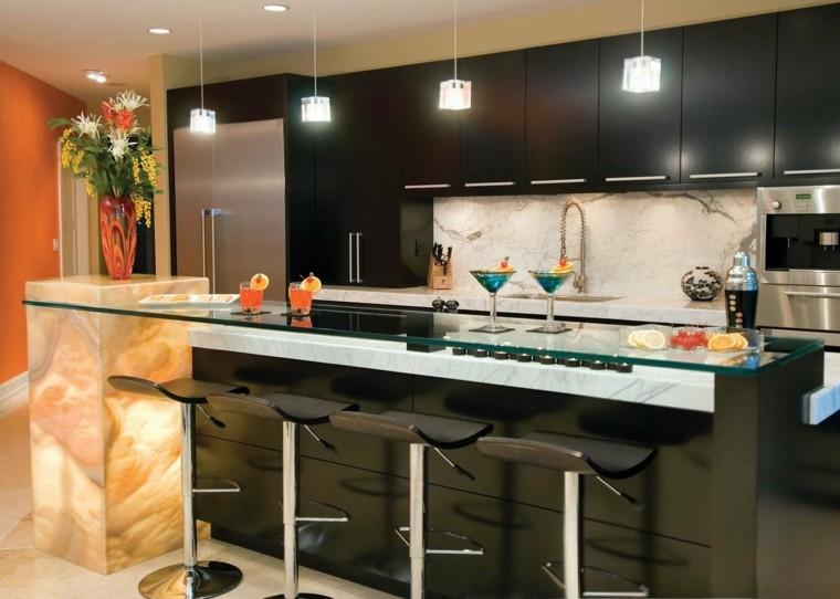 cocina preciosa muebles negros lamparas techo ideas