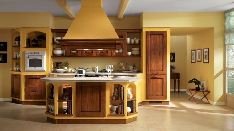 cocinas estilo amarillo paredes madera