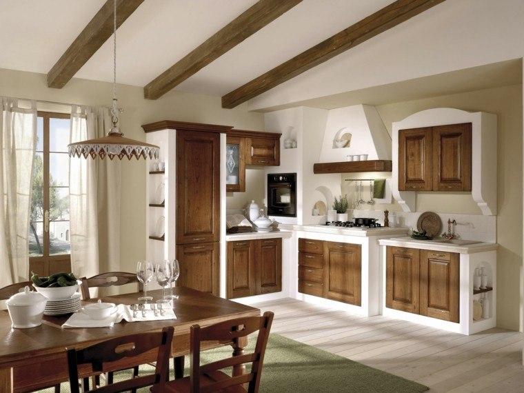 cocinas estilo copas vajilla sillas madera