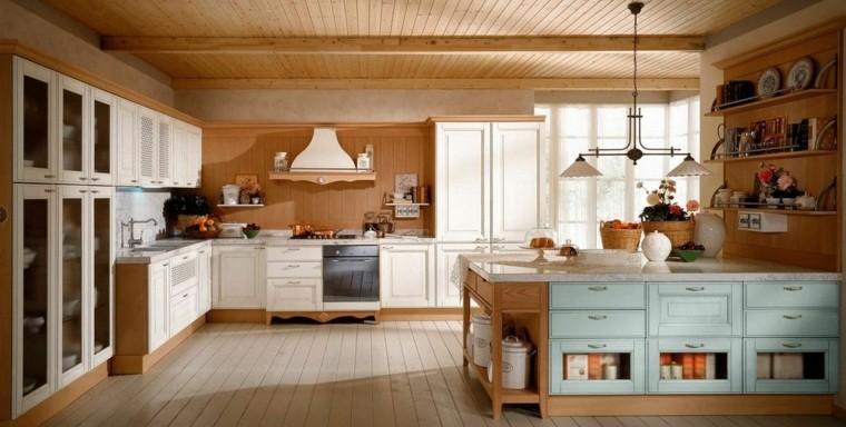 cocinas estilo estantes madera azules techo
