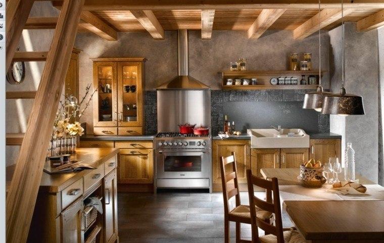 cocinas estilo madera calida escalera