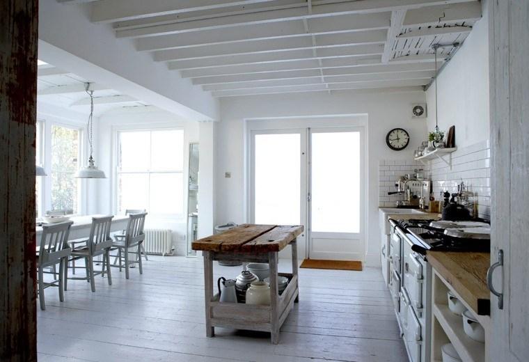cocinas estilo rustica isla madera encimeras