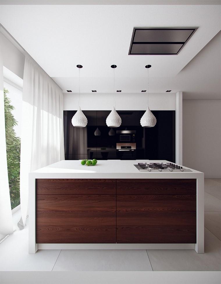 cocinas isla blanca madera moderna ventanal moderna