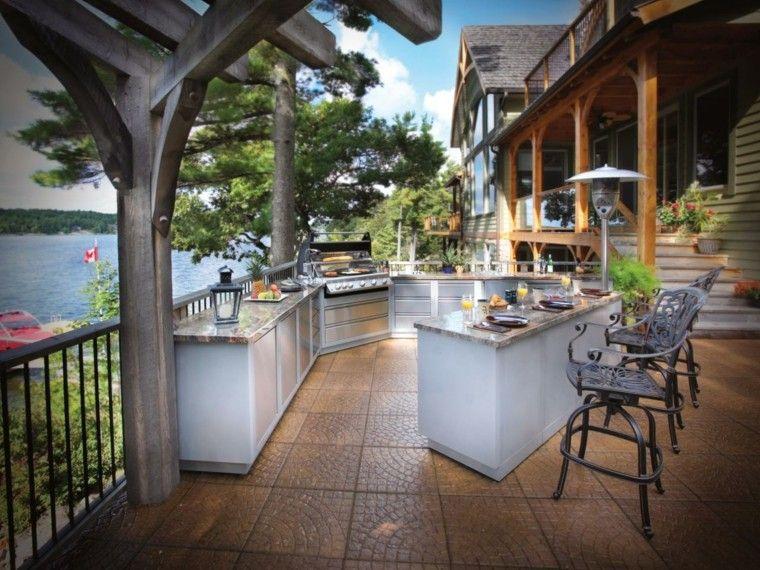 cocinas modernas aire libre terraza encimeras marmol ideas