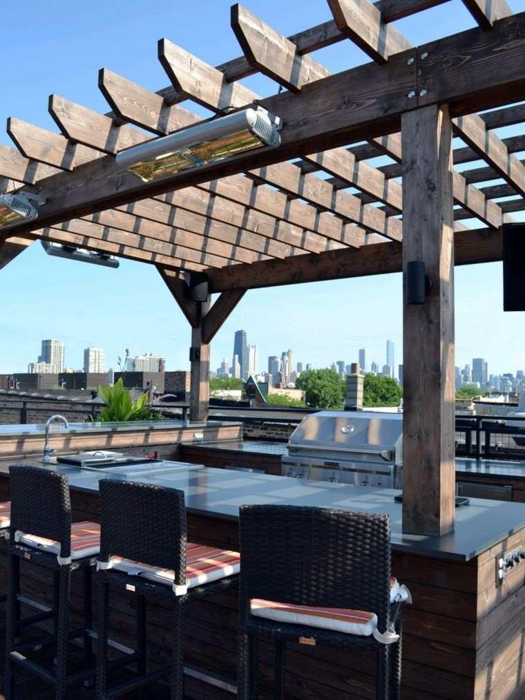 cocinas modernas aire libre terraza pergola ideas