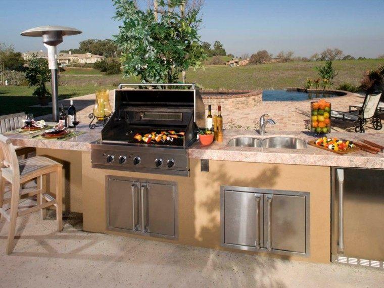 cocinas modernas exterior hormigon encimera granito ideas