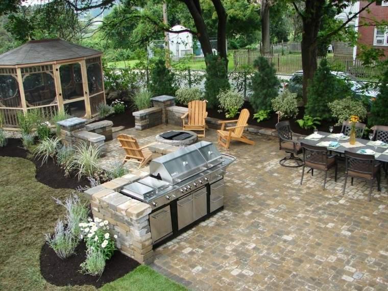 cocinas modernas exterior jardin amplio pergola ideas
