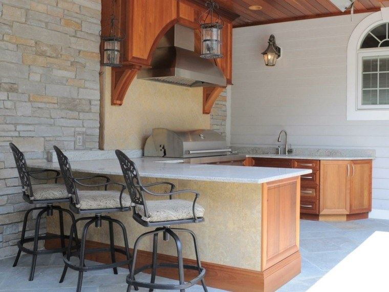 cocinas modernas exterior sillas altas acero ideas
