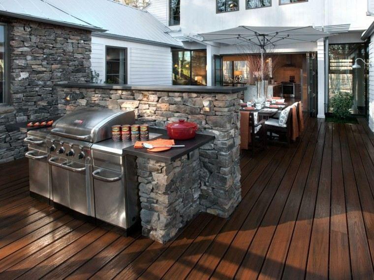 cocinas modernas exterior suelo madera acero ideas