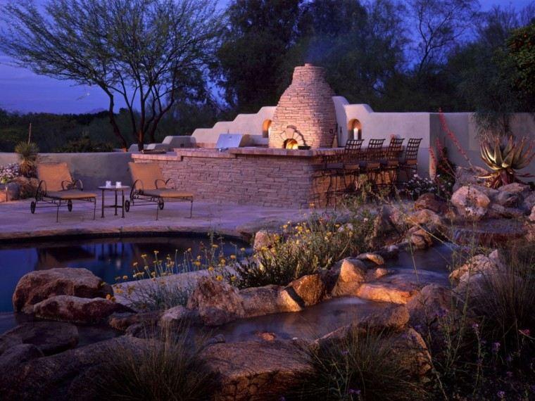 cocinas modernas jardin piscina chimenea piedra ideas