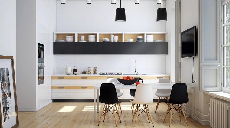 cocinas sillas negras muebles cocina mesa blanca moderna