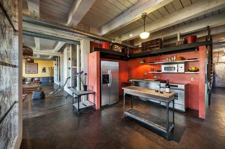 coclor rojo paredes muebles metal isla madera cocina ideas