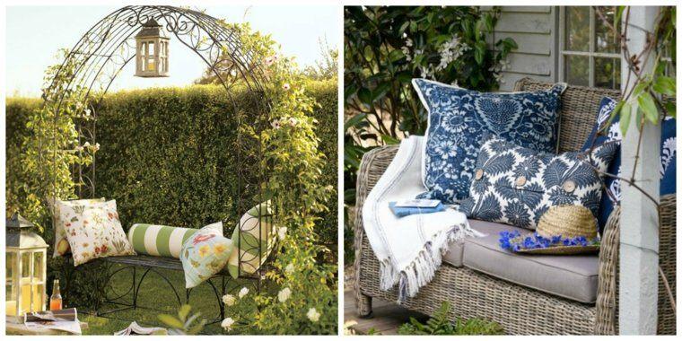 cojin arco verde patio azules
