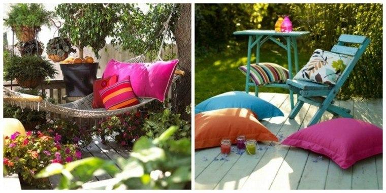 cojin jardin hamaca colorido rosa