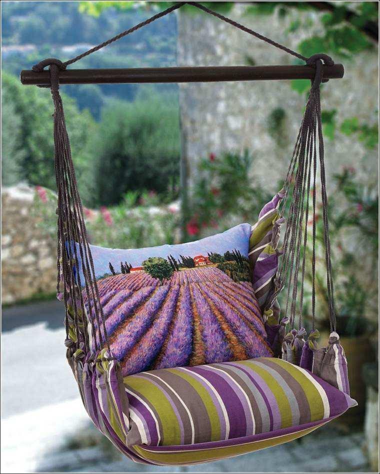 cojin rayas silla colgante jardin