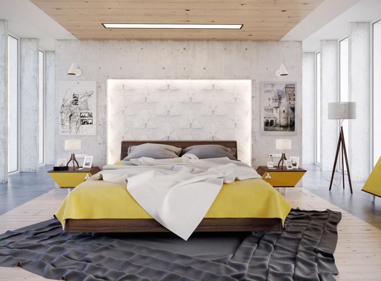 colcha amarilla diseño moderno dormitorio