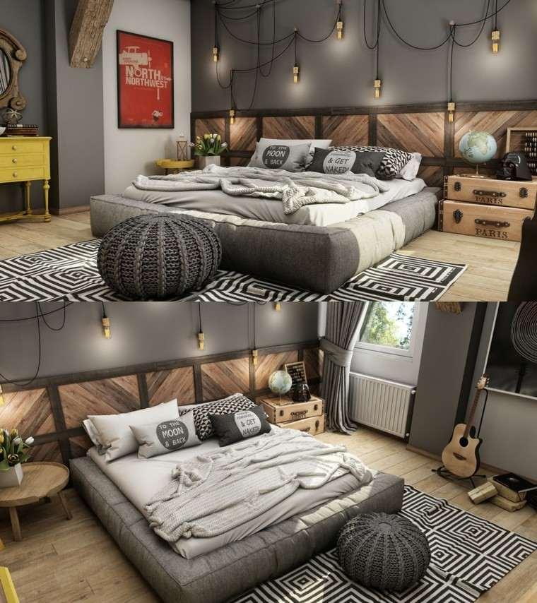 collage cama color gris acolchada