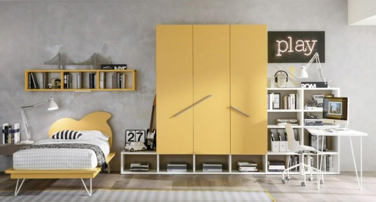 color amarillo muebles dormitorio chico ideas
