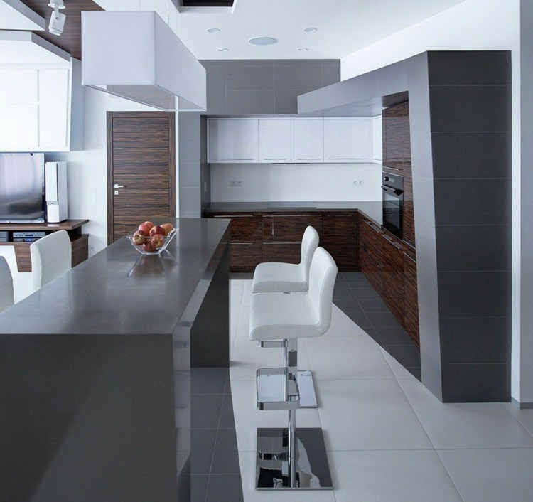 Color gris para ideas en la decoraci n de cocinas modernas - Cocinas color gris ...