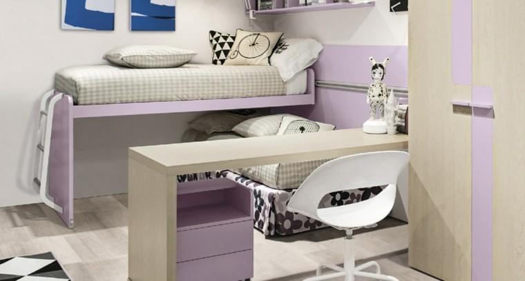 color rosa cama alta dormitorio chica ideas