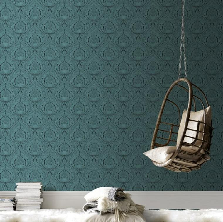color verde papel pared silla colgantre ideas