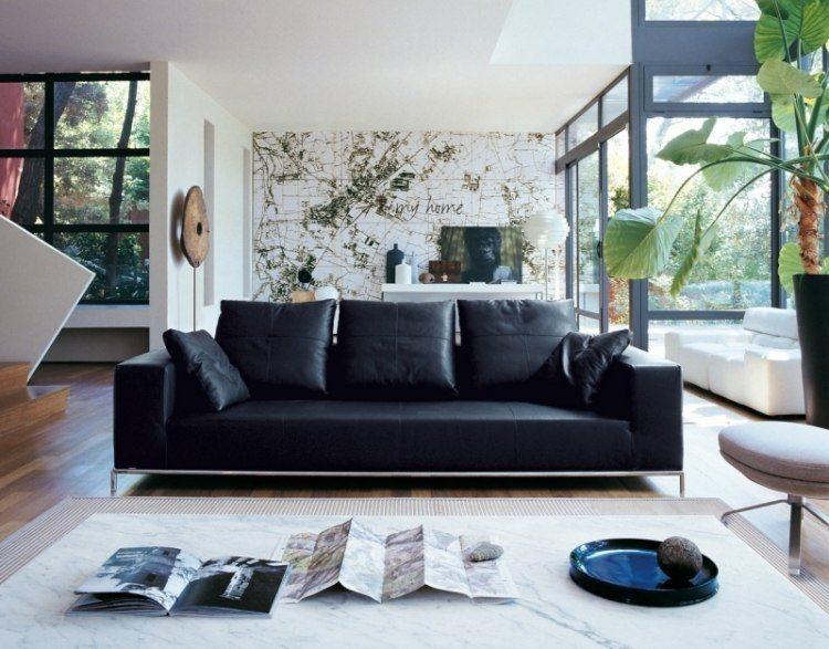 colores oscuros muebles salon moderno ideas