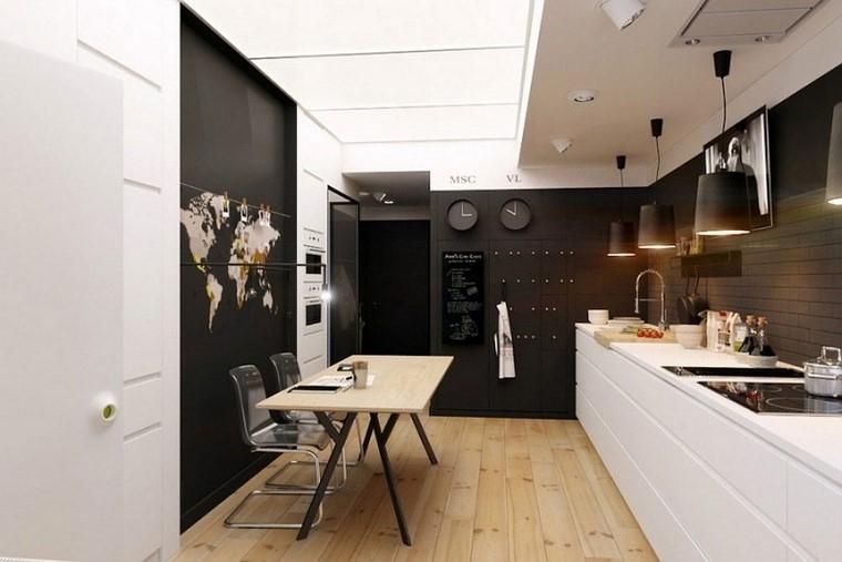 colores oscuros pared cocina muebles blancos ideas
