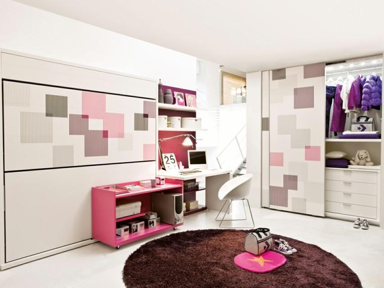 colores vibrantes muebles rosa dormitorio chica ideas