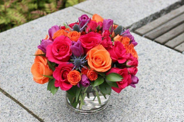 colorido combinacion rosas naranja tupido