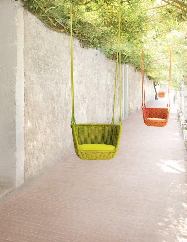 columpios colgantes colores mimbre sillas