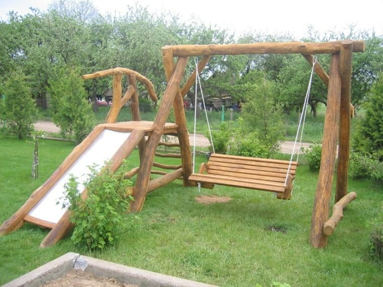 Parques infantiles en el jard n para un verano divertido - Columpios para ninos de madera ...