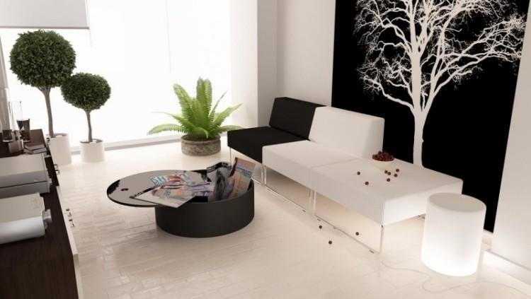 combinacion blanco negro salon moderno sofa ideas