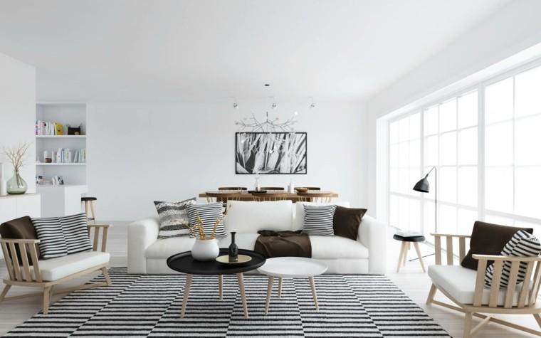 combinacion clasica blanco negro salon escandinavo ideas
