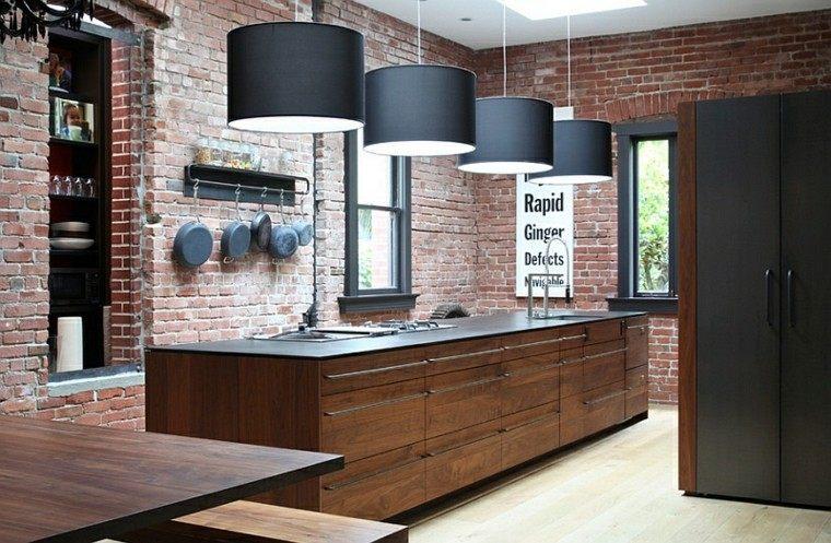 combinacion estilo industrial contemporaneo cocina pared ladrillo ideas
