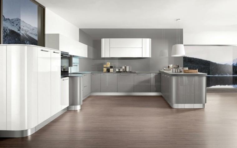 combinacion gris blanco cocina moderna ideas
