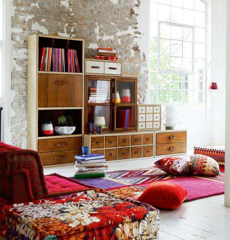 combinar colores mobiliario colorido libros