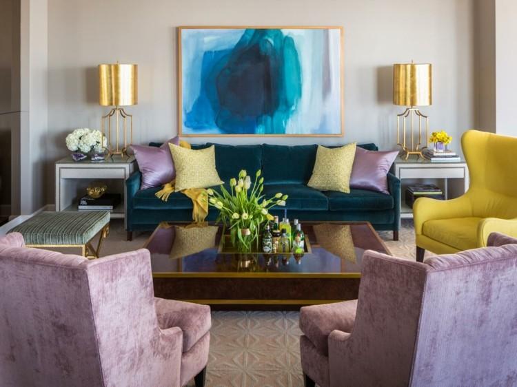 combinar colores muebles dorados cuadro